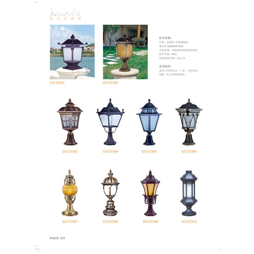 别墅工程用精致欧式柱头灯