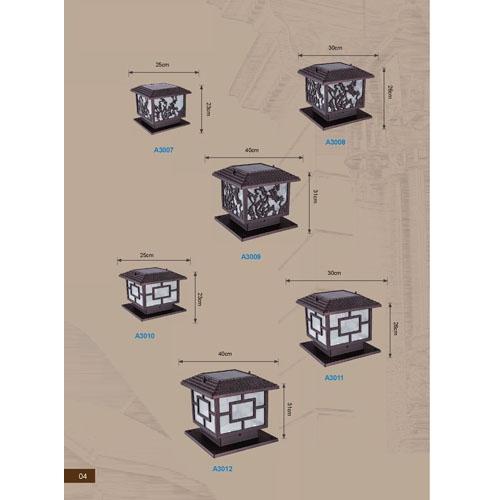 高品质新中式太阳能围墙柱头灯