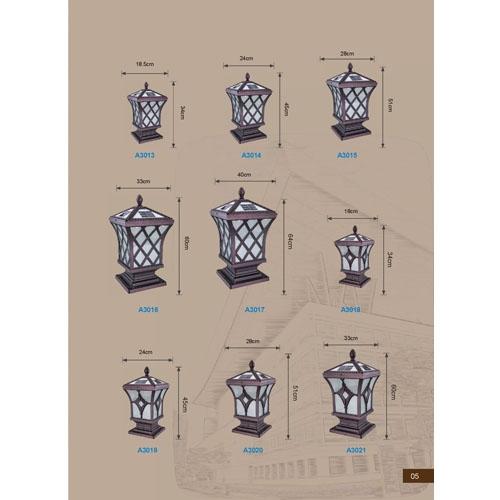 网格设计欧式太阳能围墙柱头灯