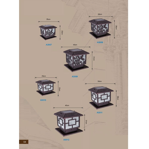 铝材太阳能中式庭院围墙柱头灯