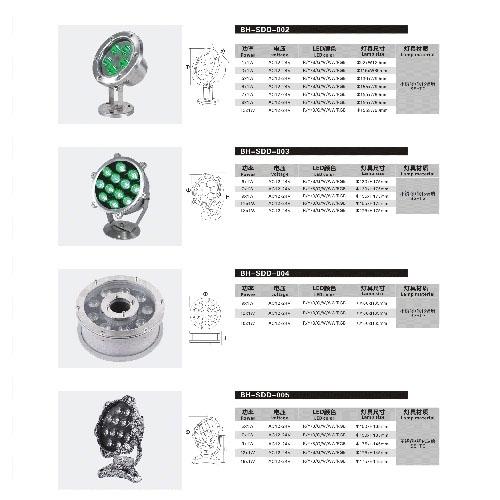IP68防水LED户外照明装饰水底灯