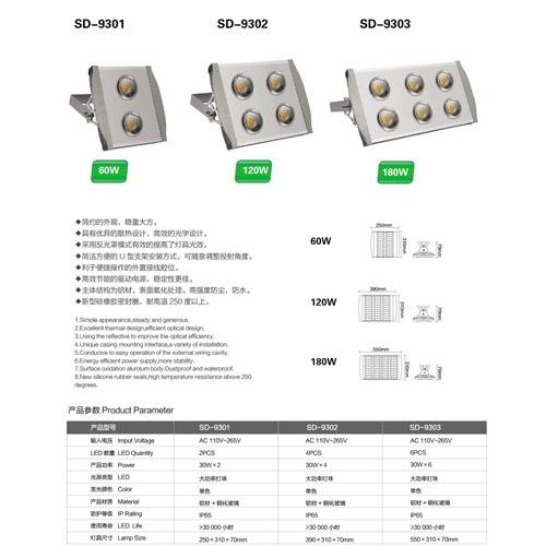 180W铝材LED隧道投光灯